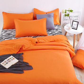 New Cotton Home Bedding Sets Zebra Bed Sheet and Orange Duver Quilt Cover Pillowcase Soft and Comfortable King Queen Full Twin