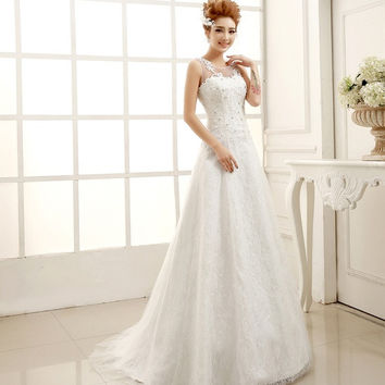 Sweet princess bride wedding dress a shoulder lace mermaid dress 2015 new = 1929971140