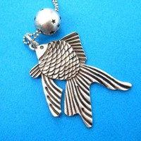Goldfish Pendant Necklace in Silver | Sea Themed Animal Jewelry