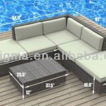 Modern Outdoor Backyard Wicker Patio Furniture Sofa Sectional 6pc All-Weather Couch Set