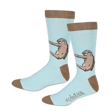 Sloth Men's Socks in Baby Blue