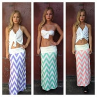 Chevron Roll Down Maxi Skirt