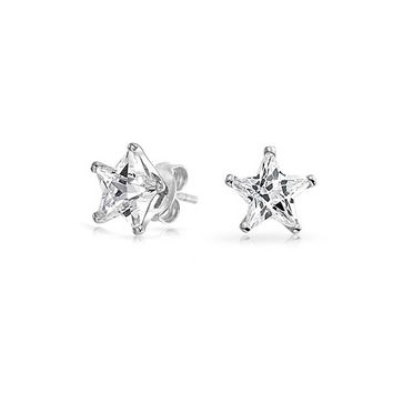 Celestial USA Patriotic Rock Star CZ Stud Earrings Sterling Silver