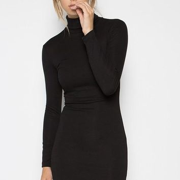 Start the Fire Turtleneck Bodycon Dress