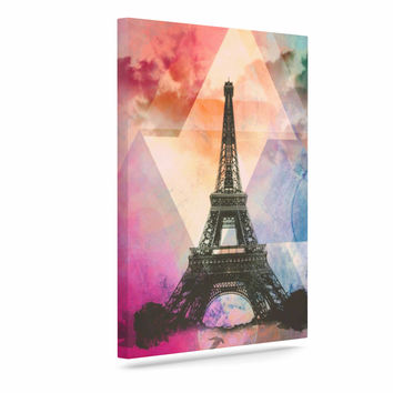 "alyZen Moonshadow ""Eiffel Tower (Deep Pink)"" Pink France Canvas Art"