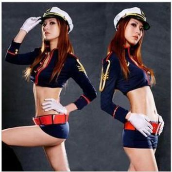 sexy dance outfits black blue sexy costumes women locomotive Racing car cheerleader costume navy sailor uniform