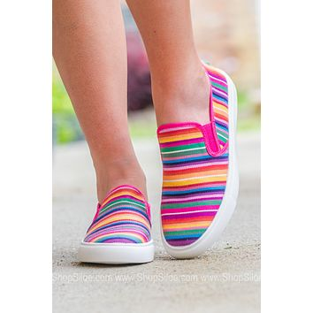 Striped Rainbow Slip On Shoes