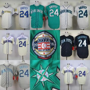 Seattle Mariners 24 Ken Griffey Jr 2016 Hall Of Fame Induction Cool Base Jersey with Sleeve Patch Men's Stitched Embroidery Logos Jersey