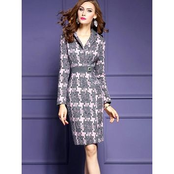Lapel Plaid Woolen Women's Sheath Dress