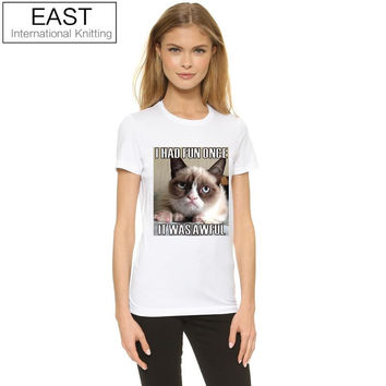 Shop Crazy Cats  Casual Women T Shirt Grumpy Cat I Had Fun Once
