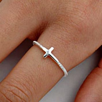 .925 Sterling Silver Beaded Christian Cross Sideways Ladies Ring Size 2-13 Midi Knuckle and Thumb