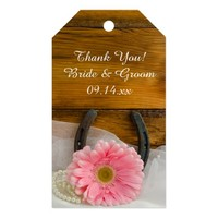 Pink Daisy Horseshoe Country Wedding Favor Tags