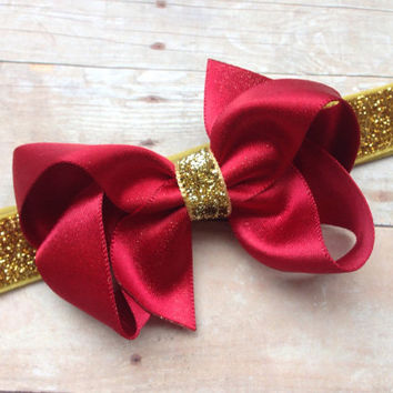 Red gold boutique bow headband - red baby headband, red & gold headband, gold headband, Christmas headband