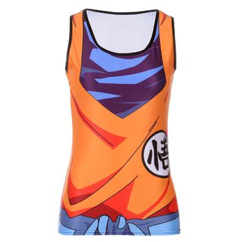 Fashion Summer Woman Lady Sleeveless Blouse O-Neck Saiyan Goku Dragon Ball Naruto 3D Print Vest Tank Tops T-shirt  Women