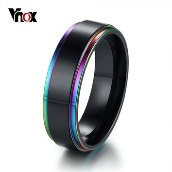 Vnox 6mm Black With Rainbow Edge Mens Wedding Band Ring Stainless Steel Classic Simple Male Jewelry Statement Alliance