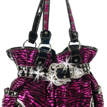 Wine Rhinestone Buckle Metallic Zebra Handbag A