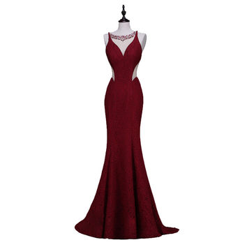 Finove Wine Red Long Elegant Memaid Evening Dresses