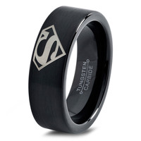Superman Comics Ring Mens Fanatic Geek Sci Fi Jewelry Boys Girls Womens Superhero Superman Ring Fathers Day Gift Tungsten Carbide 40