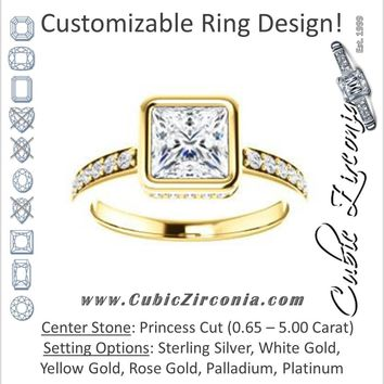 Cubic Zirconia Engagement Ring- The Monaco (Customizable Vintage Princess Cut Design with Crown-inspired Under-halo Trellis and Pavé Band)