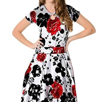 Chicloth 1950s Style Black Red Floral Short Sleeves Swing Dress