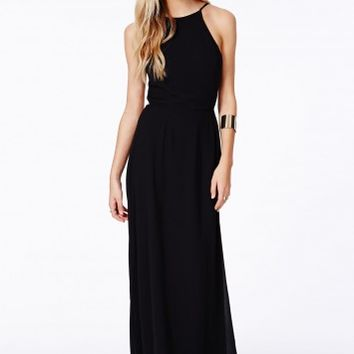 Missguided - Pascaline Black High Neck Strappy Maxi Dress