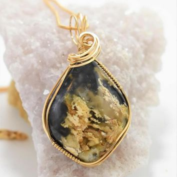 Gorgeous Oregon Plume Agate Doublet-Wrapped in 14k Gold Filled Wire