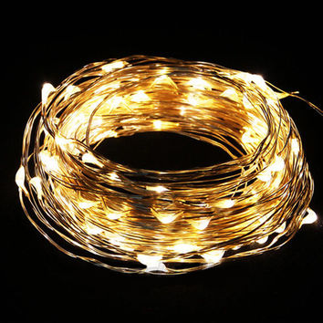 10M/33FT 100 LED Saving Copper Wire Fairy Romantic Home Garden Decor String Light Party Wedding decoration Warm White