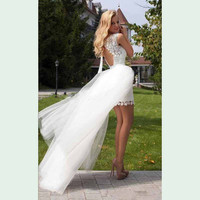 2016 Wedding Dresses Vestido De Noiva Robe De Mariage Trouwjurk Casamento Princesa Com Renda Short White Lace Appliques Train