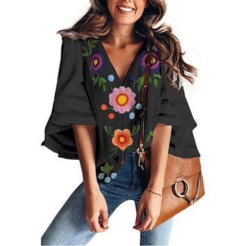Sofia Embroidered Bell Sleeve Top
