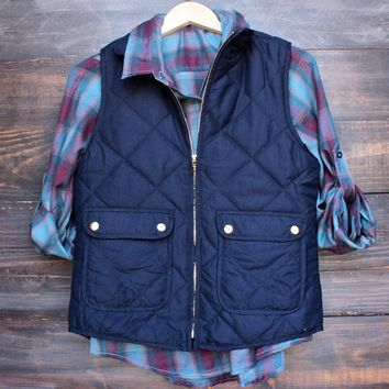 City Strut Quilted Puffer Vest   Navy