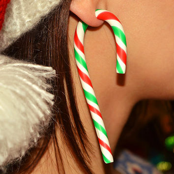 Christmas Candy Earrings, Candy Cane, Christmas Candy Ear Plugs or Fake Gauges, Cane Earrings, Cane Plugs, Cane Earrings, Christmas Earrings