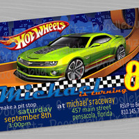 Hotwheels Race Cars Birthday Party Invitations! Custom Personalized Invitations. 24hr turn around. Choose Your Size 4x6 or 5x7