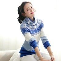 Women's sweaters and pullovers vintage printed cashmere sweater