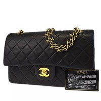 CHANEL BLACK QUILTED 2.55 LAMBSKIN VINTAGE MEDIUM CLASSIC DOUBLE FLAP BAG GHW A6