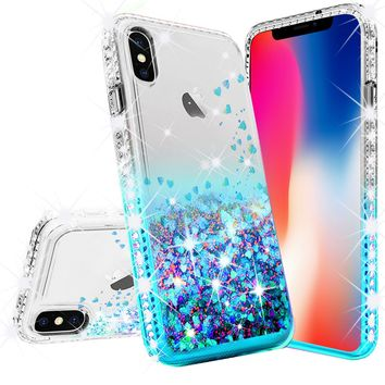 Apple iPhone XS Max Case Liquid Glitter Phone Case Waterfall Floating Quicksand Bling Sparkle Cute Protective Girls Women Cover for iPhone XS Max - Teal
