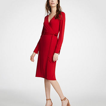 Petite Button Cuff Wrap Dress | Ann Taylor