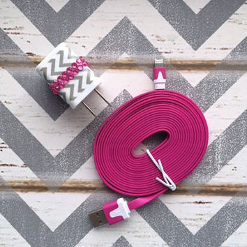 New Super Cute Grey & White Chevron Design Dual USB Wall Charger + 10ft Flat Hot Pink Iphone 5/5s/5c Cable Cord