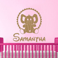 Elephant Wall Decal Name Vinyl Sticker Personalized Custom Name Decals Children Kids Baby Name Girls Nursery Boys Room Decor Bedroom AN678
