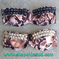 Studded Bikini Top - Swimwear - Snakeskin Print - Gold, Silver, or Black Studs -