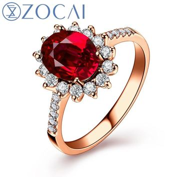 ZOCAI Real Natural 1.0 CT Certified Ruby or Sapphire with 0.26 CT Real Diamond in 18K Rose Gold (Au750) Ruby Ring W05349