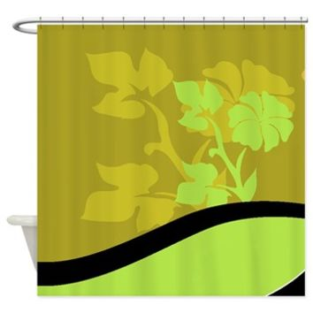 Contemporary Green and Black Leaves Shower Curtain> Contemporary Green Leaves> Buy Gifts