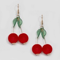 ASOS Cherry Drop Pom Earrings at asos.com