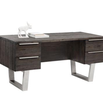 RHODOS SOLID ACACIA WOOD WITH BRUSHED STAINLESS STEEL LEGS DESK