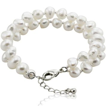 SNH AA 8mm white baroque natural freshwater pearl bracelet 925 sterling silver clasp cultured genuine pearl beads free shipping
