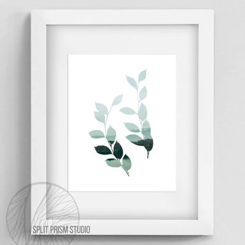 Original Art Print, Silhouette Print, Minimal Art, Modern Art, Leaves, Branches, Wall Art, Instant Download Art, Silhouette Art, Nature