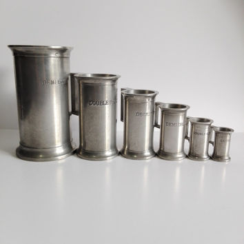 Set 6 vintage french pewter measuring cups. Country kitchen.
