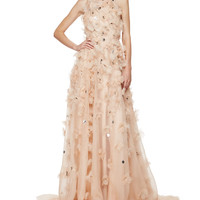 Halter-Neck Embellished-Floral Gown, Nude/Multi