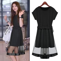 Black Short Sleeve with Waist Tie and  Overlay Mesh Dress