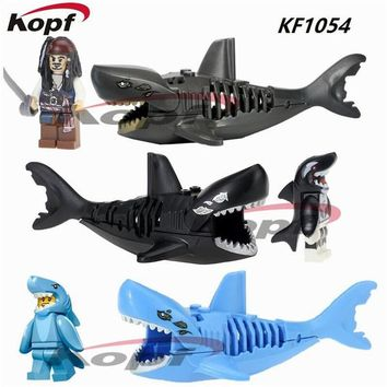 Super Heroes Ghost Zombie Black Blue Shark Jack Sparrow Orca Pirates of the Caribbean Building Blocks Children Gift Toys KF1054