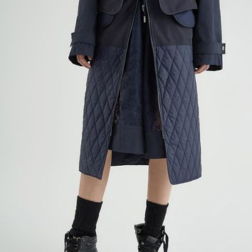 Front Zipper Quilted Skirt | Navy